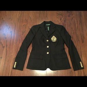 Ralph Lauren black cotton blend crest blazer 2P